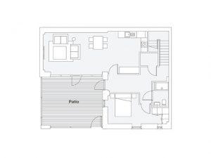 3 bed courtyard house ground floor